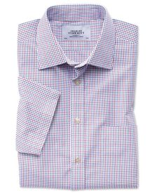 Slim fit non-iron multi grid check short sleeve shirt