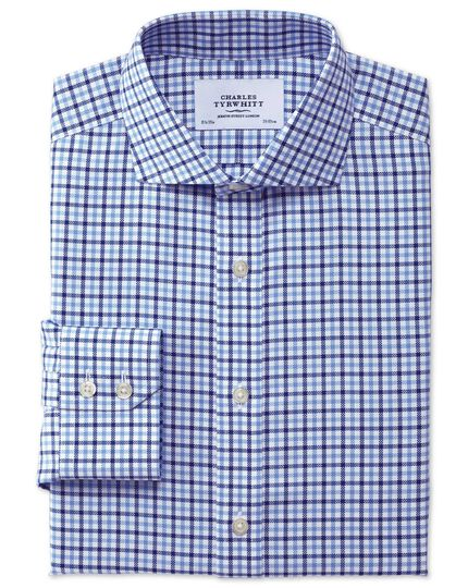 Slim fit spread collar non-iron royal Oxford check blue and sky blue shirt