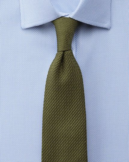 Slim fit non-iron Buckingham weave sky blue shirt
