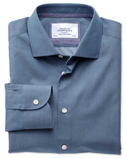 Extra slim fit semi-cutaway collar business casual indigo shirt
