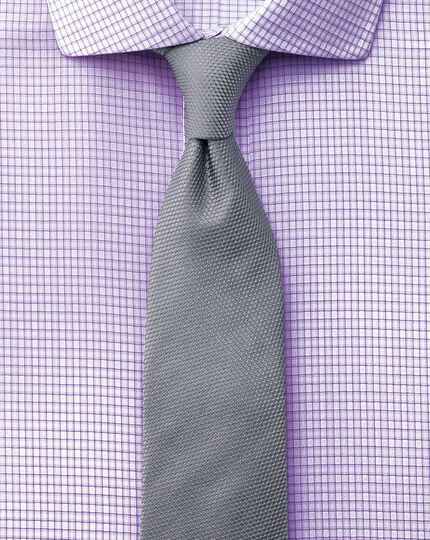 Slim fit spread collar non-iron dobby check lilac shirt