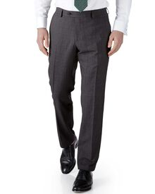 Grey check slim fit flannel business suit pants