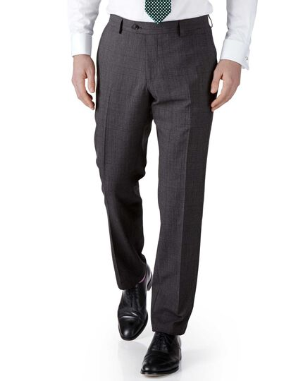 Grey check slim fit flannel business suit trousers