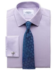 Classic fit non-iron honeycomb lilac shirt