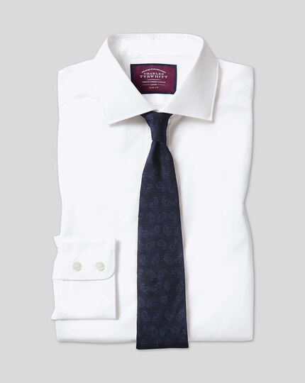Classic fit semi-cutaway collar luxury twill white shirt