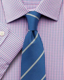 Classic fit micro gingham pink shirt
