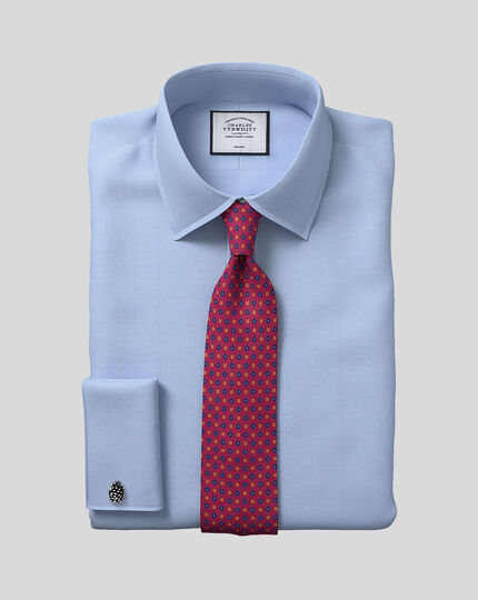 Classic fit non-iron herringbone sky blue shirt