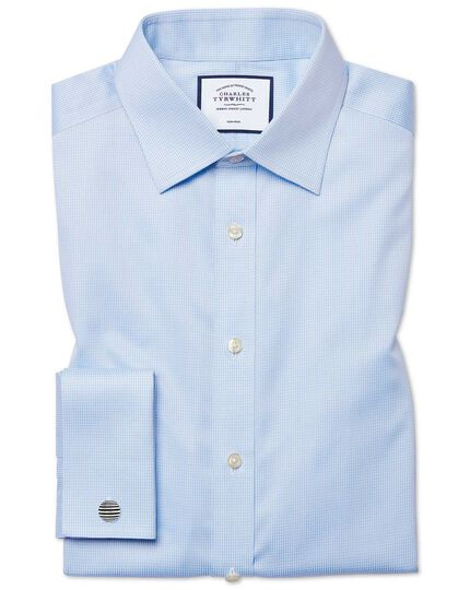 Slim fit non-iron puppytooth sky blue shirt