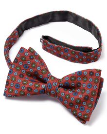 Light red wool printed classic bow tie