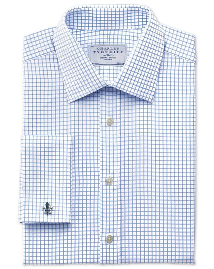 Classic fit twill check sky blue shirt