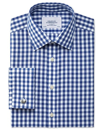 Classic fit non-iron gingham navy shirt