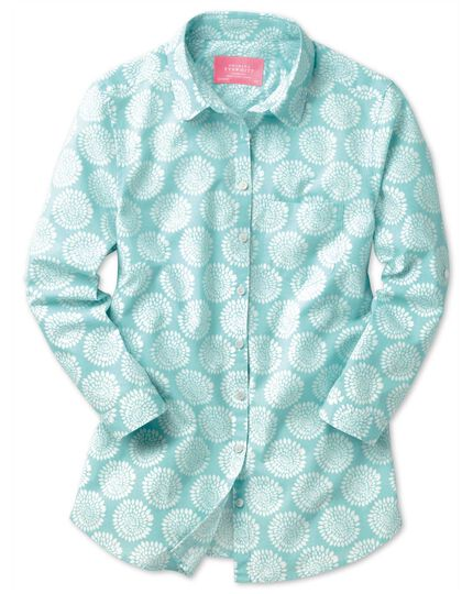 Women's semi-fitted cotton floral print aqua tab sleeve shirt
