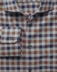 Extra slim fit semi-spread collar business casual melange navy and brown check shirt