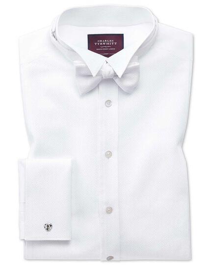 White cotton marcella self-tie bow tie