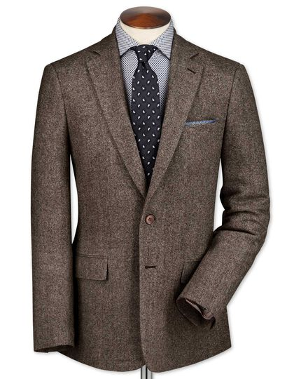 Classic fit light brown lambswool hopsack jacket