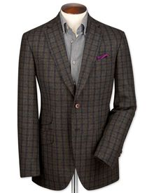 Slim fit green and navy check luxury British tweed jacket
