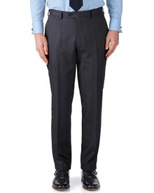 Charcoal classic fit herringbone business suit trousers