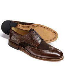 Mornington Budapester Derby-Schuh mit Flügelkappen in braun
