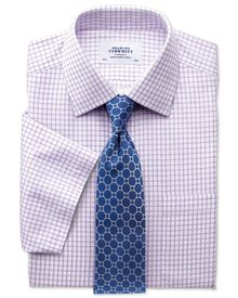 Classic fit non-iron short sleeve lilac shirt