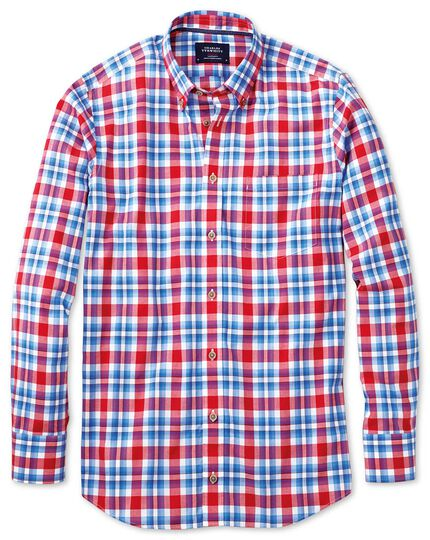 Slim fit poplin sky blue and red check shirt