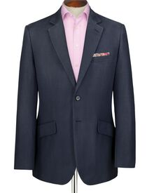 Navy classic fit silk linen summer suit