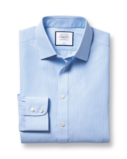 Classic fit non-iron bengal stripe sky blue shirt