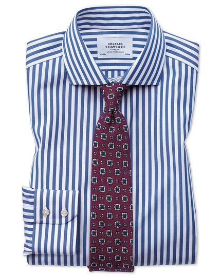 Extra slim fit spread collar non iron bold stripe blue shirt