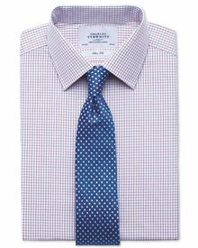 Slim fit two color check red & blue shirt