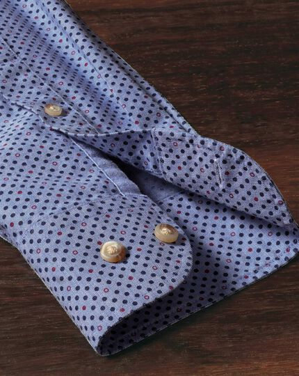 Extra slim fit blue and purple spot print shirt