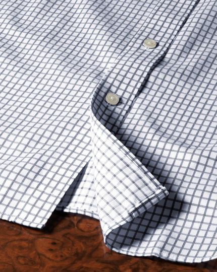 Bügelfreies Slim Fit Hemd in Indigoblau mit Windowpane-Karo