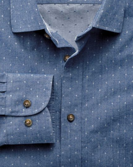 Classic fit mid-blue dobby spot shirt