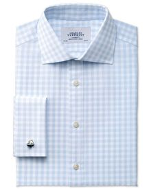 Extra slim fit semi-cutaway collar textured gingham sky blue shirt