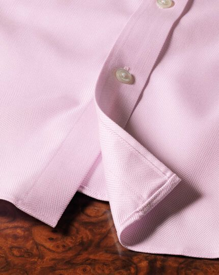 Extra slim fit cutaway collar non-iron herringbone light pink shirt