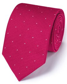 Dark pink silk classic textured dash tie