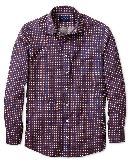 Extra slim fit blue and orange spot print shirt