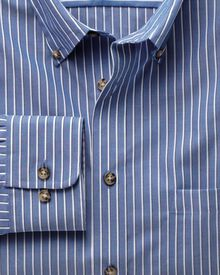 Classic fit blue and white stripe non-iron poplin shirt