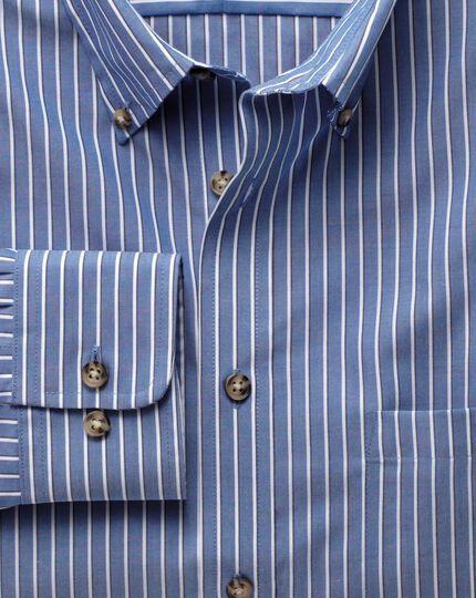 Slim fit non-iron poplin blue and white stripe shirt
