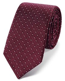 Burgundy and white silk slim diamond neat classic tie