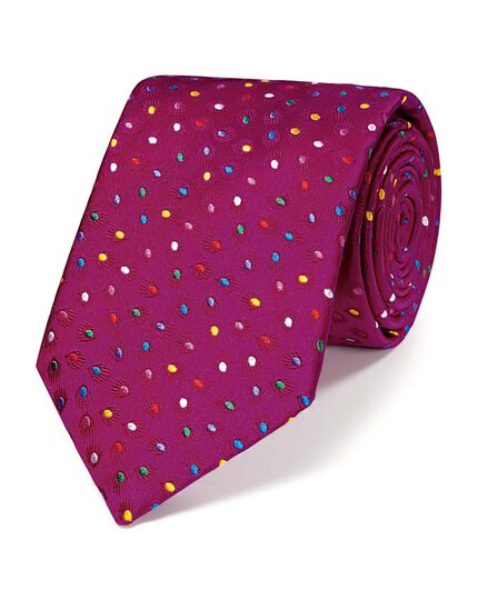 Pink silk luxury multi spot floral tie