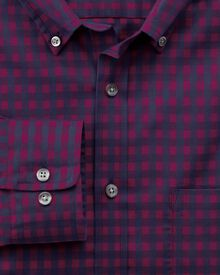 Slim fit non-iron poplin berry and navy gingham shirt