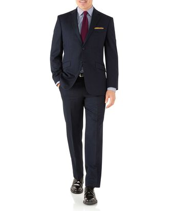 Navy classic fit hairline business suit