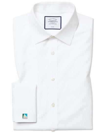 Bügelfreies Classic Fit Popeline-Hemd in Weiß
