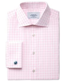 Classic fit semi-cutaway collar textured gingham pink shirt