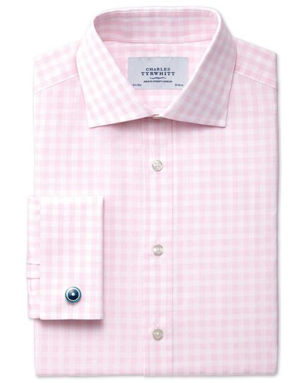 Classic fit semi-spread collar textured gingham pink shirt