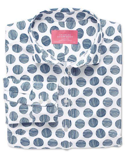 Women's semi-fitted cotton poplin white and navy spot stripe shirt