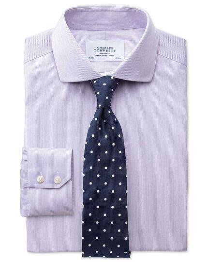 Extra slim fit spread collar non-iron mouline stripe lilac shirt