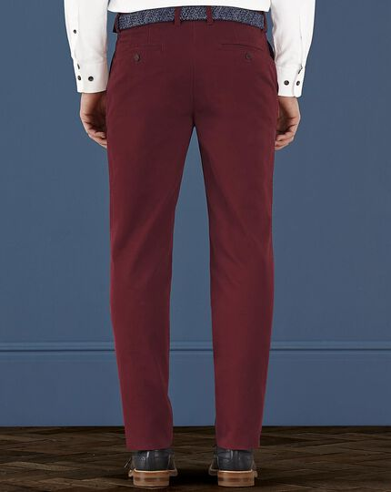 Red slim fit flat front weekend chinos