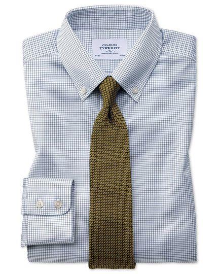 Extra slim fit button-down non-iron twill mini grid check navy blue shirt