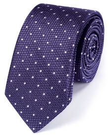 Slim purple silk classic textured spot tie