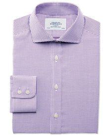 Slim fit Star weave spread purple shirt